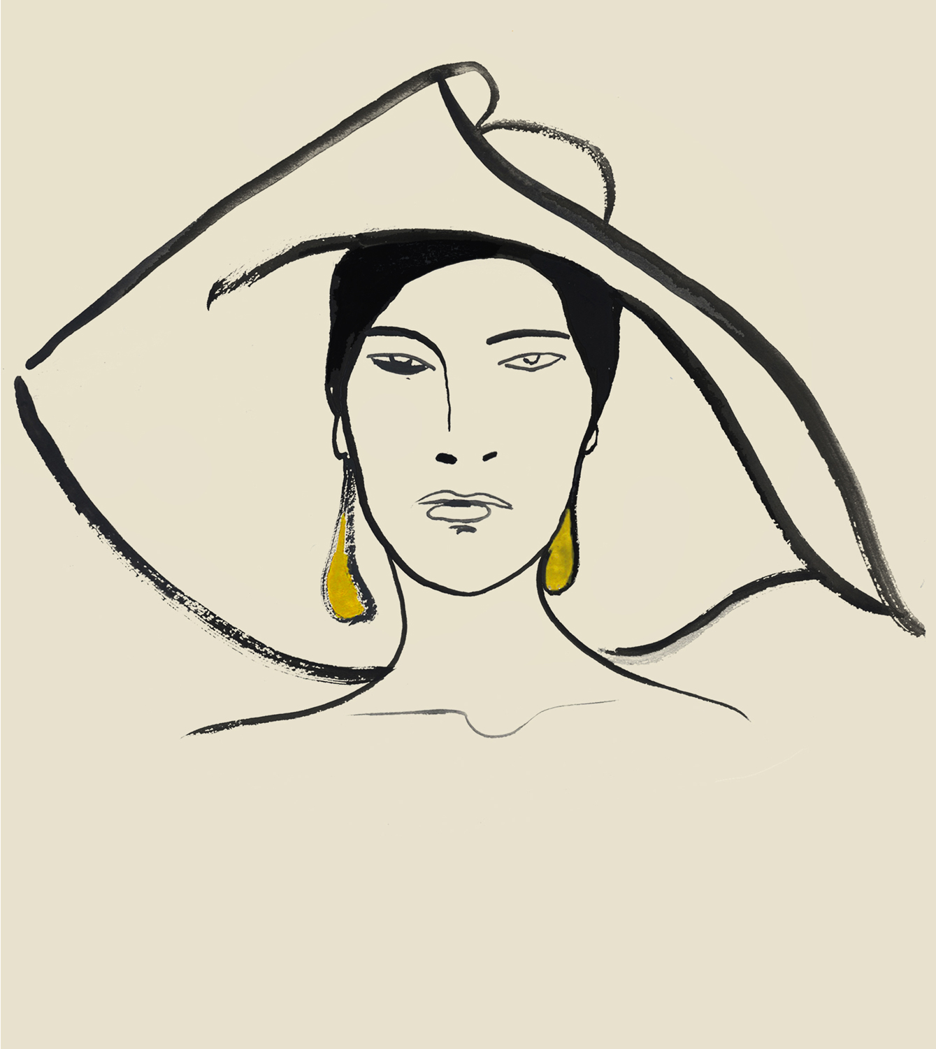 Line Drawing Of Model Wearing Hat