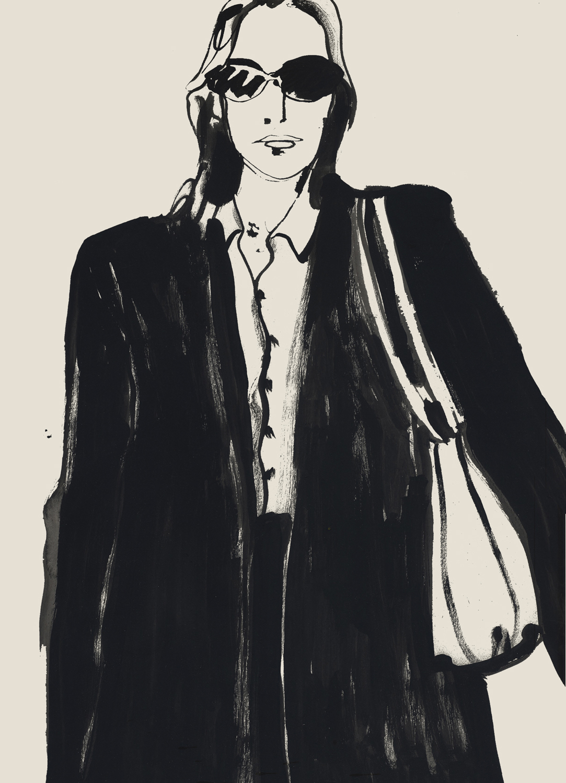 Lady in Full Sleeves Blazer And Handbag