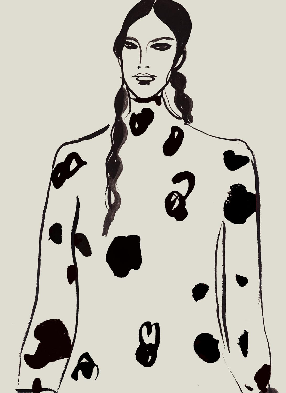Fashion Illustration of Bishop Sleeve Dress