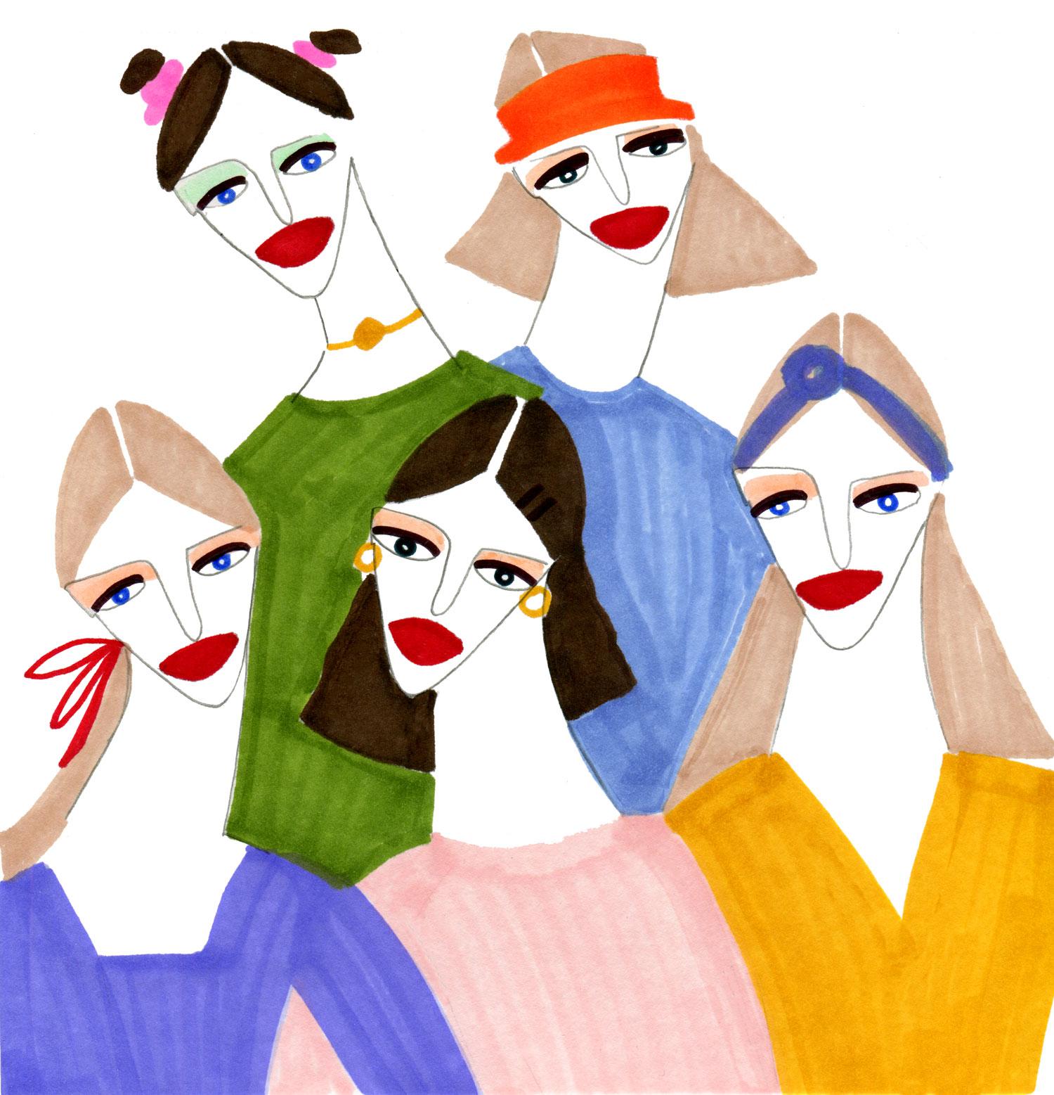 Editorial Fashion illustration of Ladies