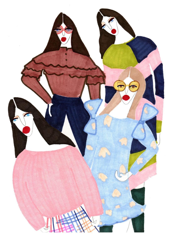 Editorial Illustration of three girls in Fashion