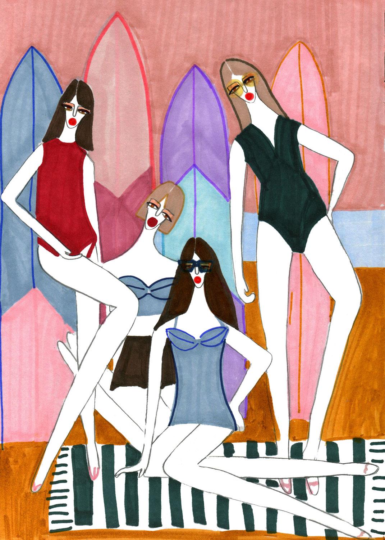 Artwork for the girls enjoying beach vibes