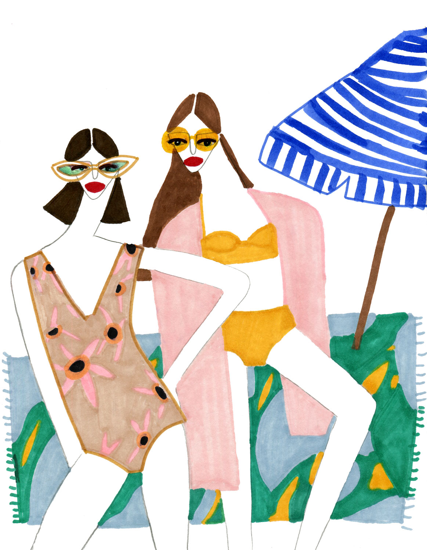 Beach side Fashion Ladies illustration