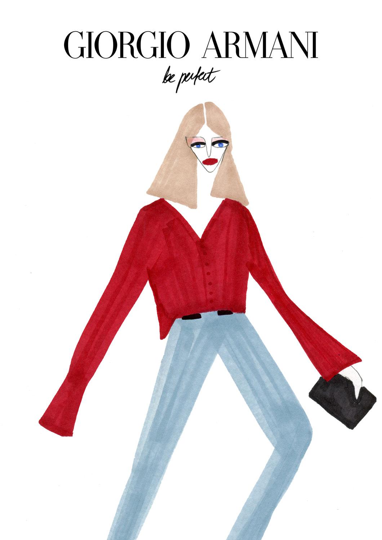 Fashion illustration for Giorgio Armani's Model