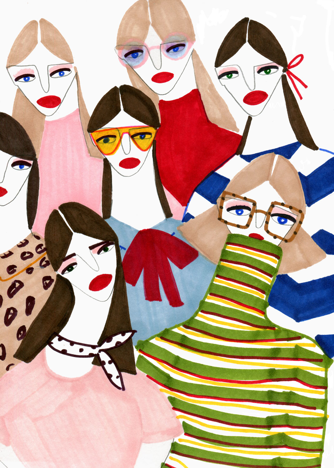 Fashion illustration of girls in different styles
