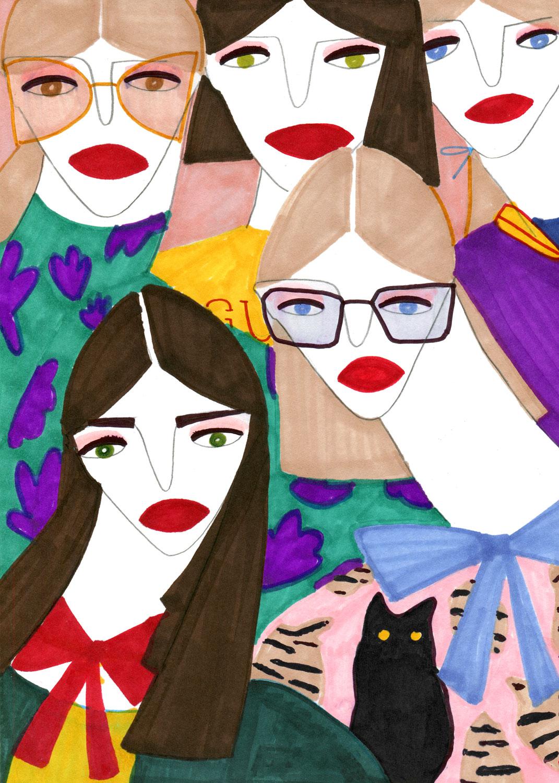 An artwork of beautiful Women for Gucci