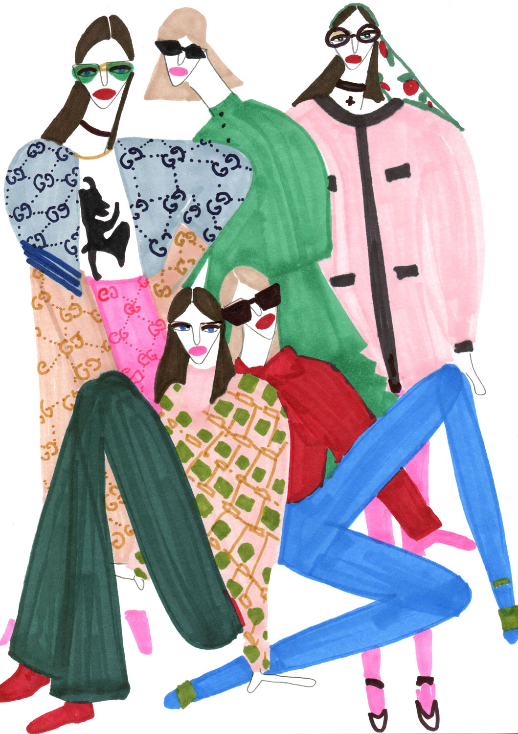 Figurative illustration for Girls in Gucci
