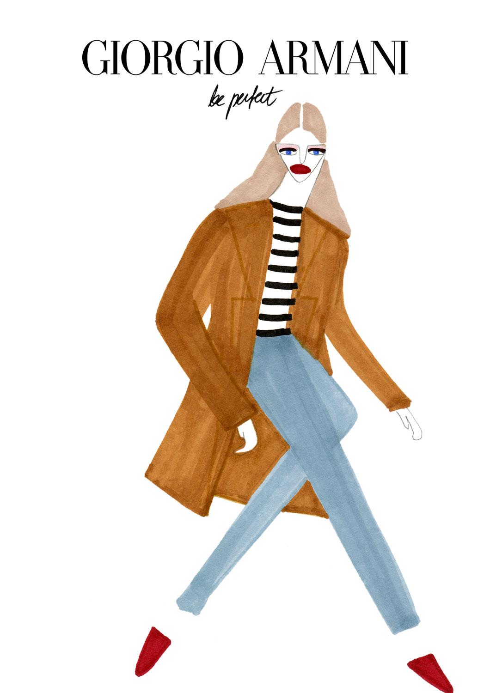 Woman portrait illustration for Gorgio Armani fashion