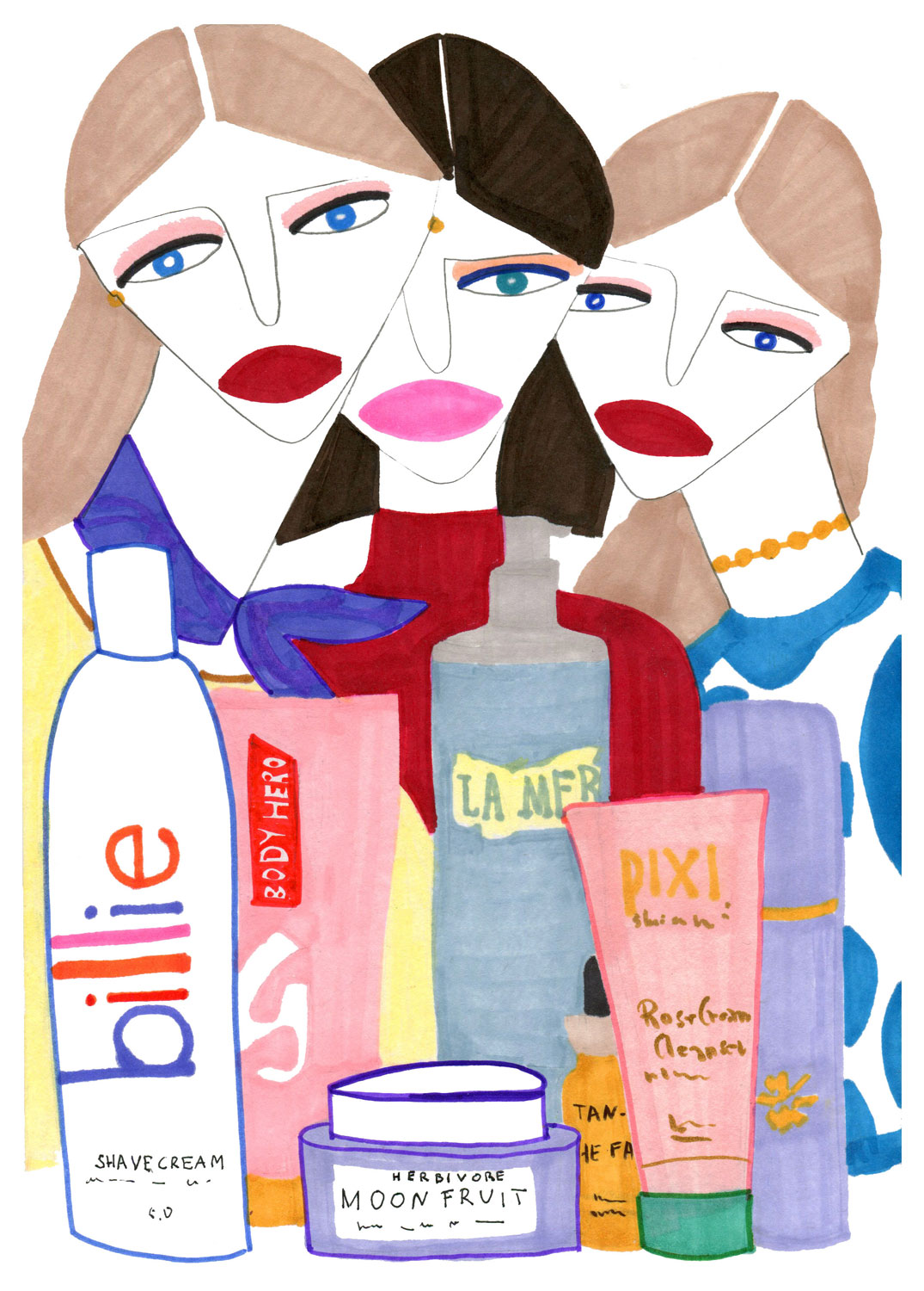 Illustration for fashion girls featuring cosmetics