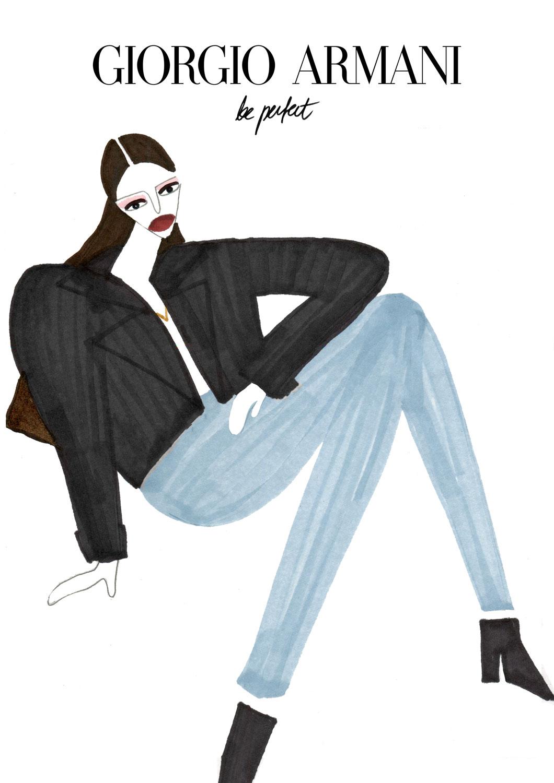 Fashion illustration for Giorgio Armani's model in black coat