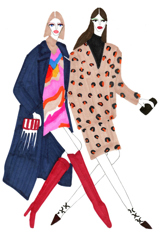 Figurative illustration of Models in long coat