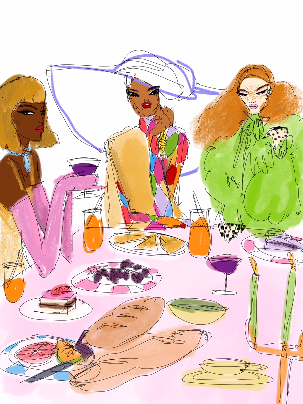 Digital Drawing Of Dinner Table