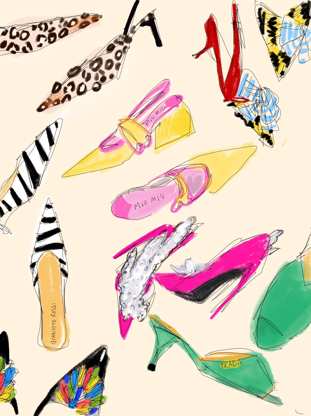 Digital Sketch of Different Sandals