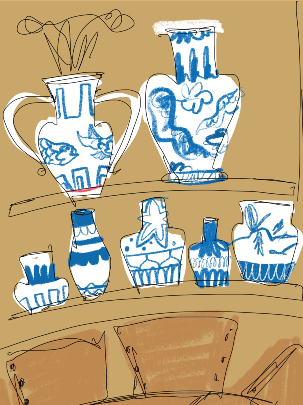 Digital Art Of Different Sizes Of Vase