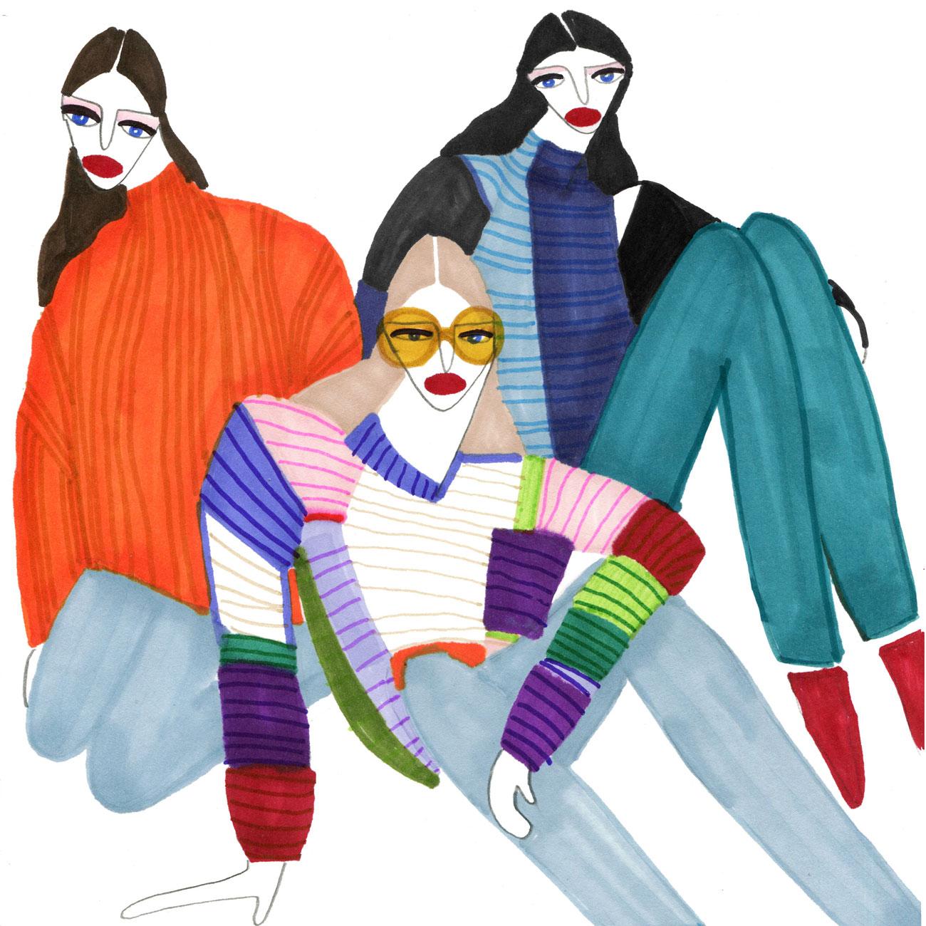 Illustration for three beautiful Women