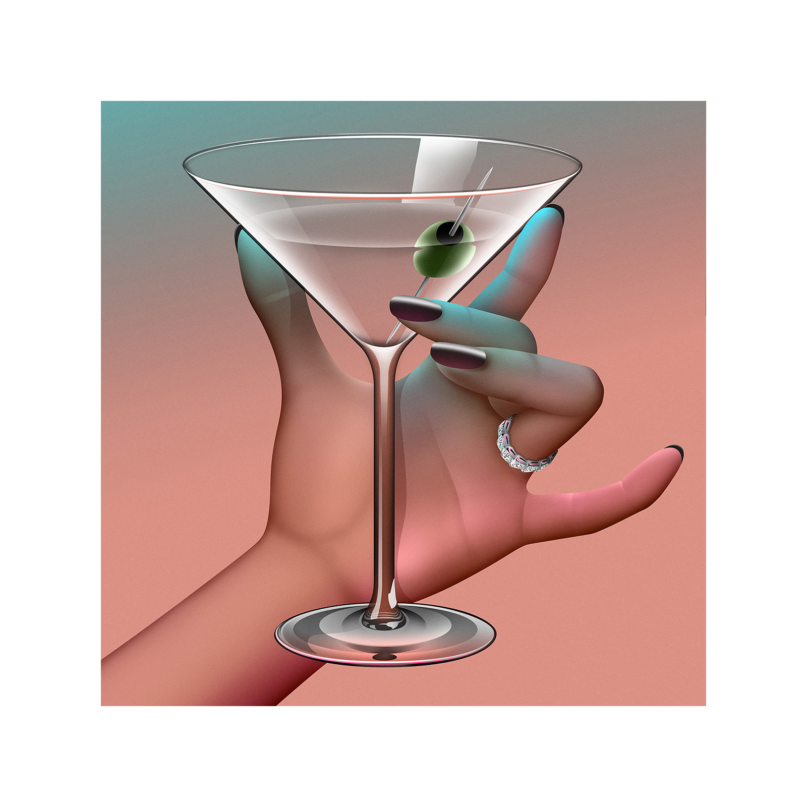 Curvy hand holding Martini glass vector art