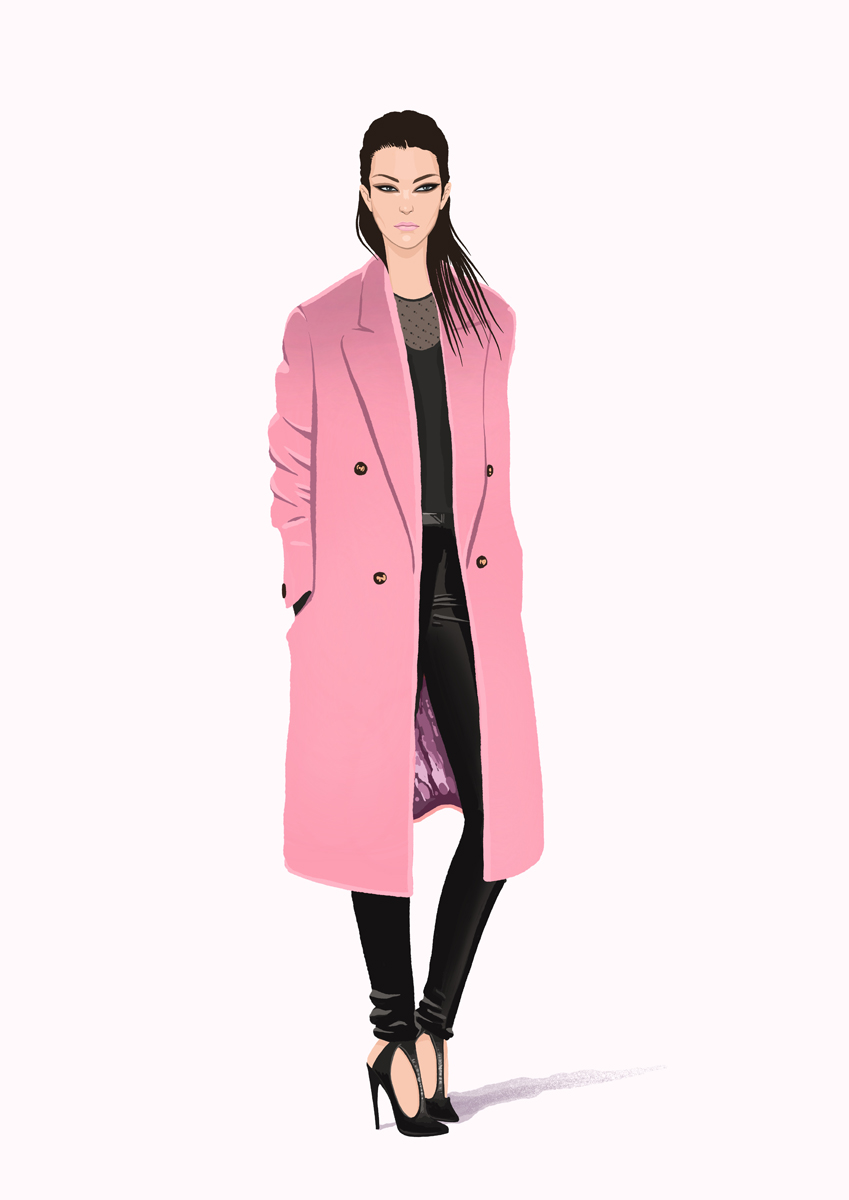 Pink coat lady illustration