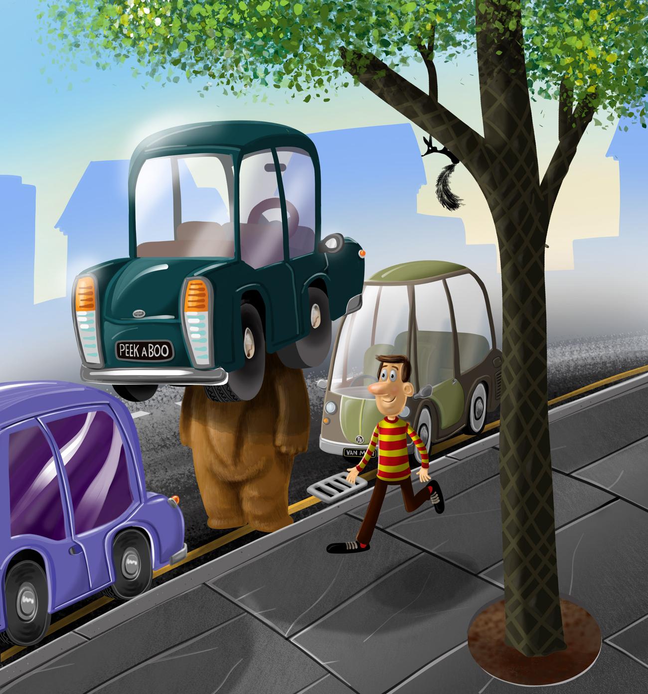 Bear hiding under a car illustration