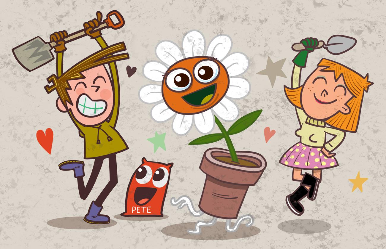 Couple planting a sapling illustration