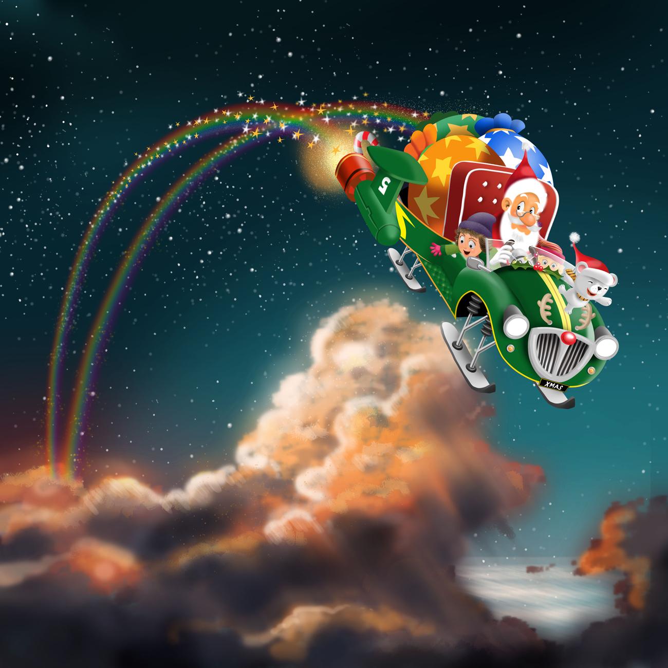 Vector art of children enjoying with santa in sky