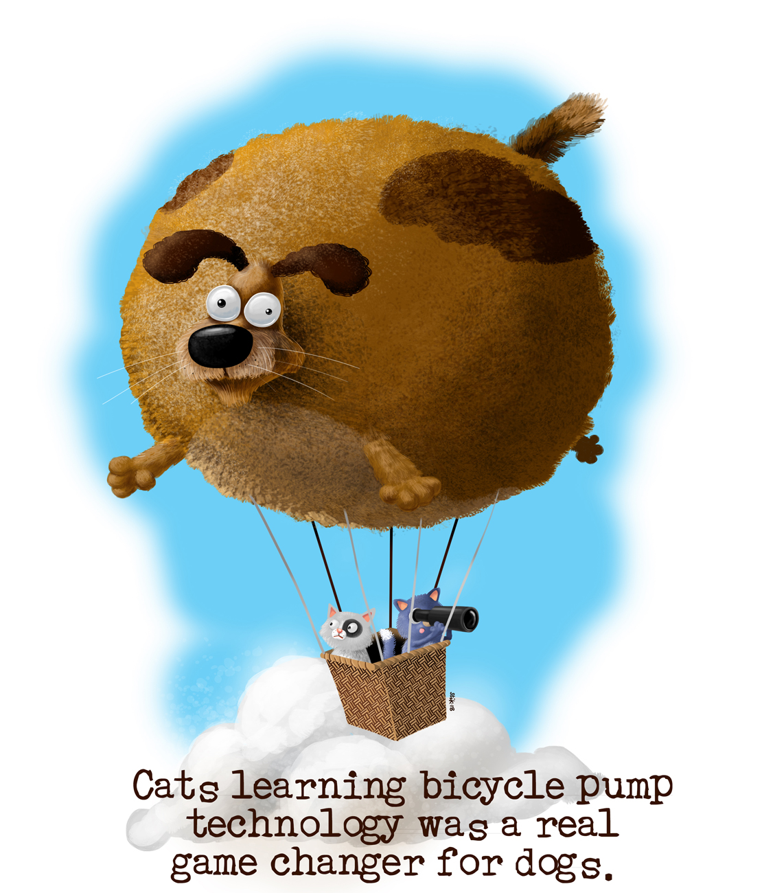 Cats in inflated dog parachute cartoon art