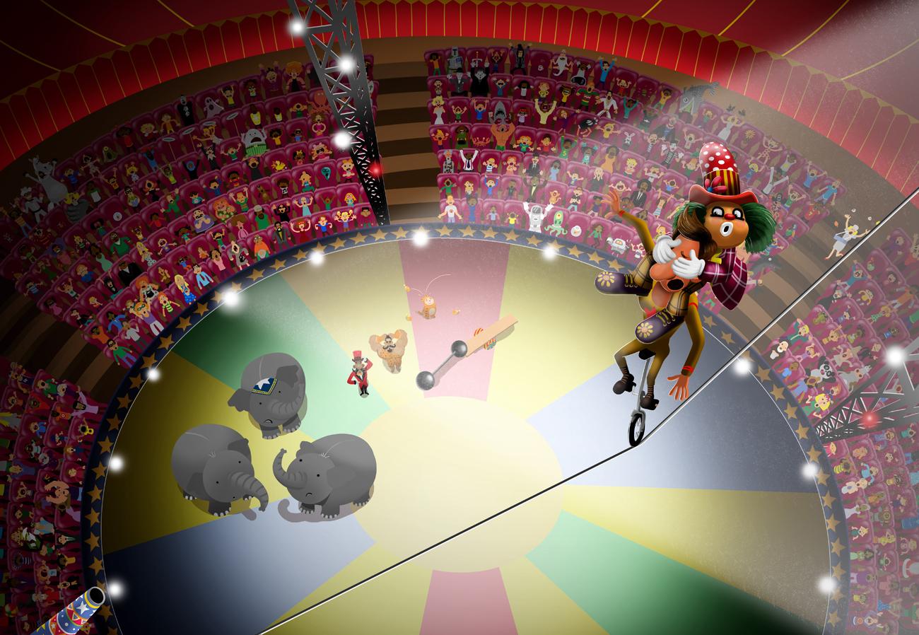 Joker performing stunts in circus digital drawing