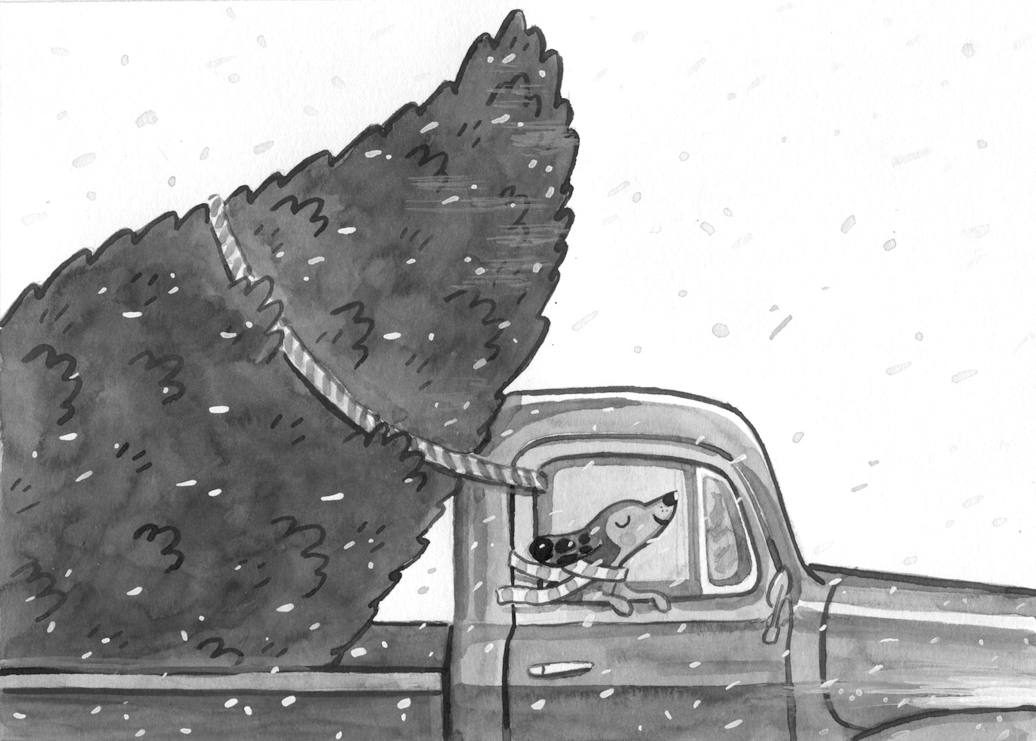 Sarge in the truck B&W.jpeg