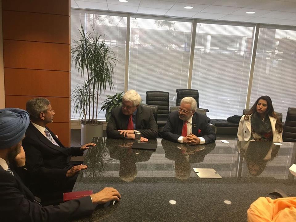 (L-R): Indian Ambassador to USA Navtej Sarna, Indian Foreign Secretary S. Jaishankar, Former Speaker Newt Gingrich, RHC Founder Shalabh Kumar