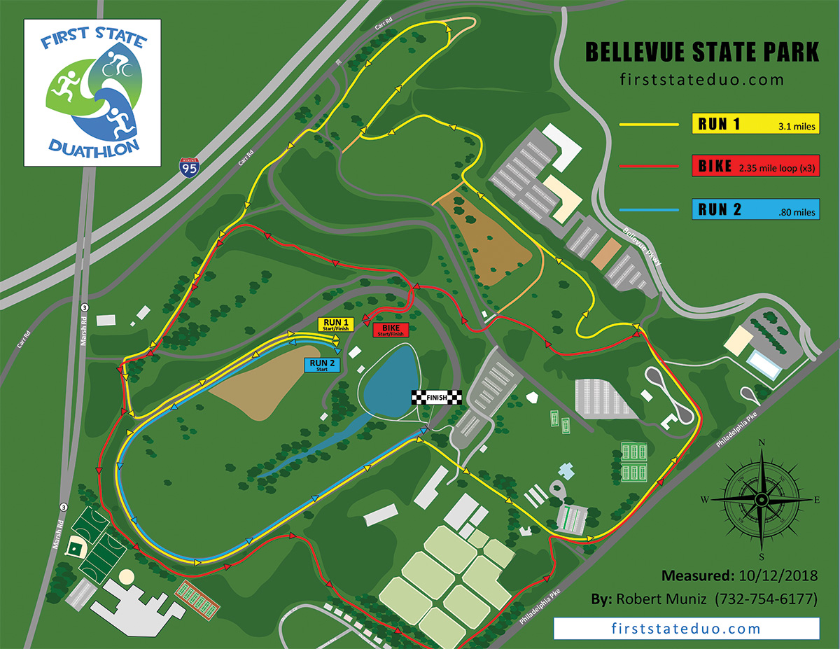 This map reflects the First State Duathlon course at Belleveue State Park.  Click to see or download the PDF of the map here .