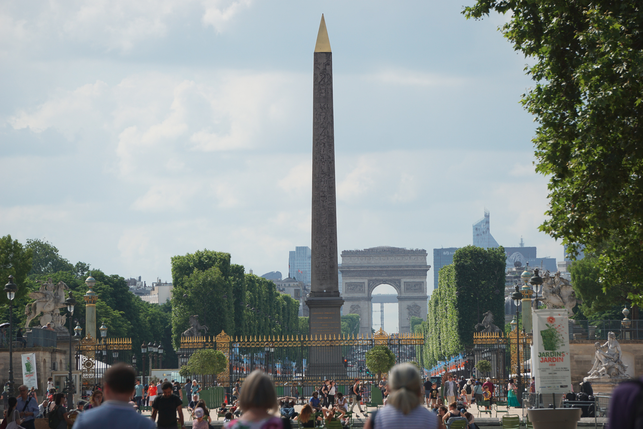 Luxor Obelisk in the middle of Place de la Concorde, at the end of Tuilieres Garden