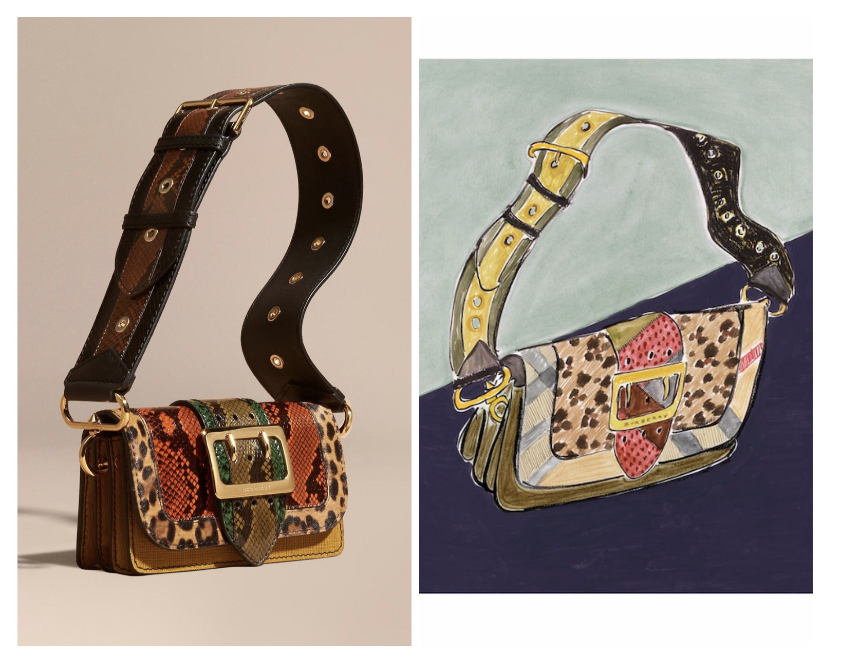Burberry Patchwork bag Autumn/Winter2016 and Illustration of The Patchwork Bag