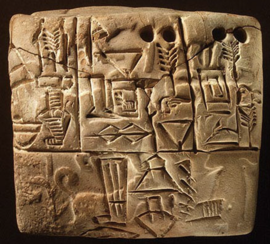 Ancient administrative tablet with cylinder seal impression of a male figure hunting dogs and boars, Jamdat Nasr, Uruk, III style: 3100–2900 bc. www.metmuseum.org