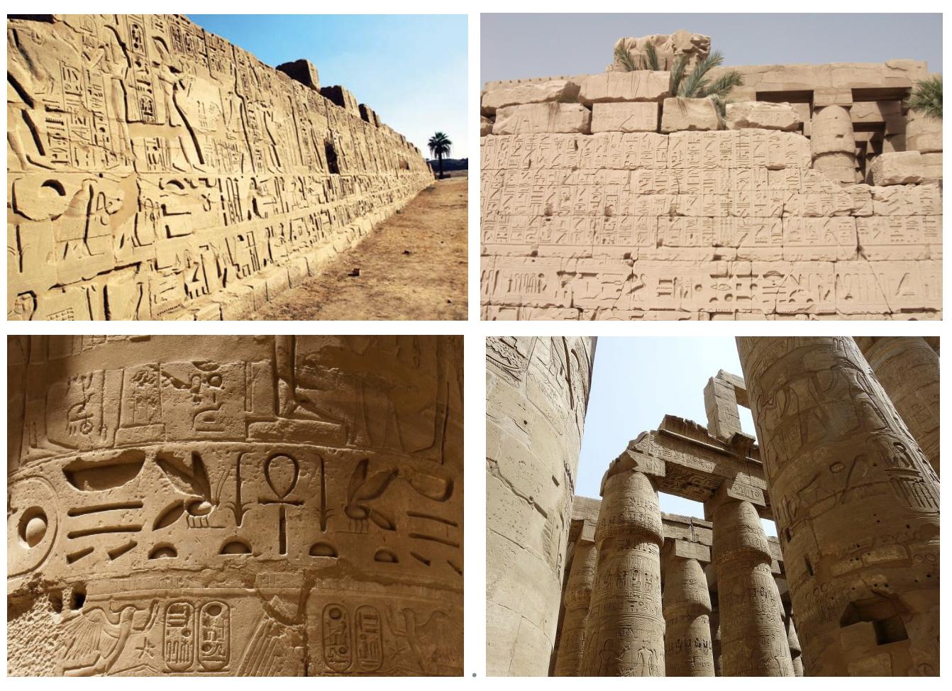 Hieroglyphs on a temple wall, Karnak, Egypt