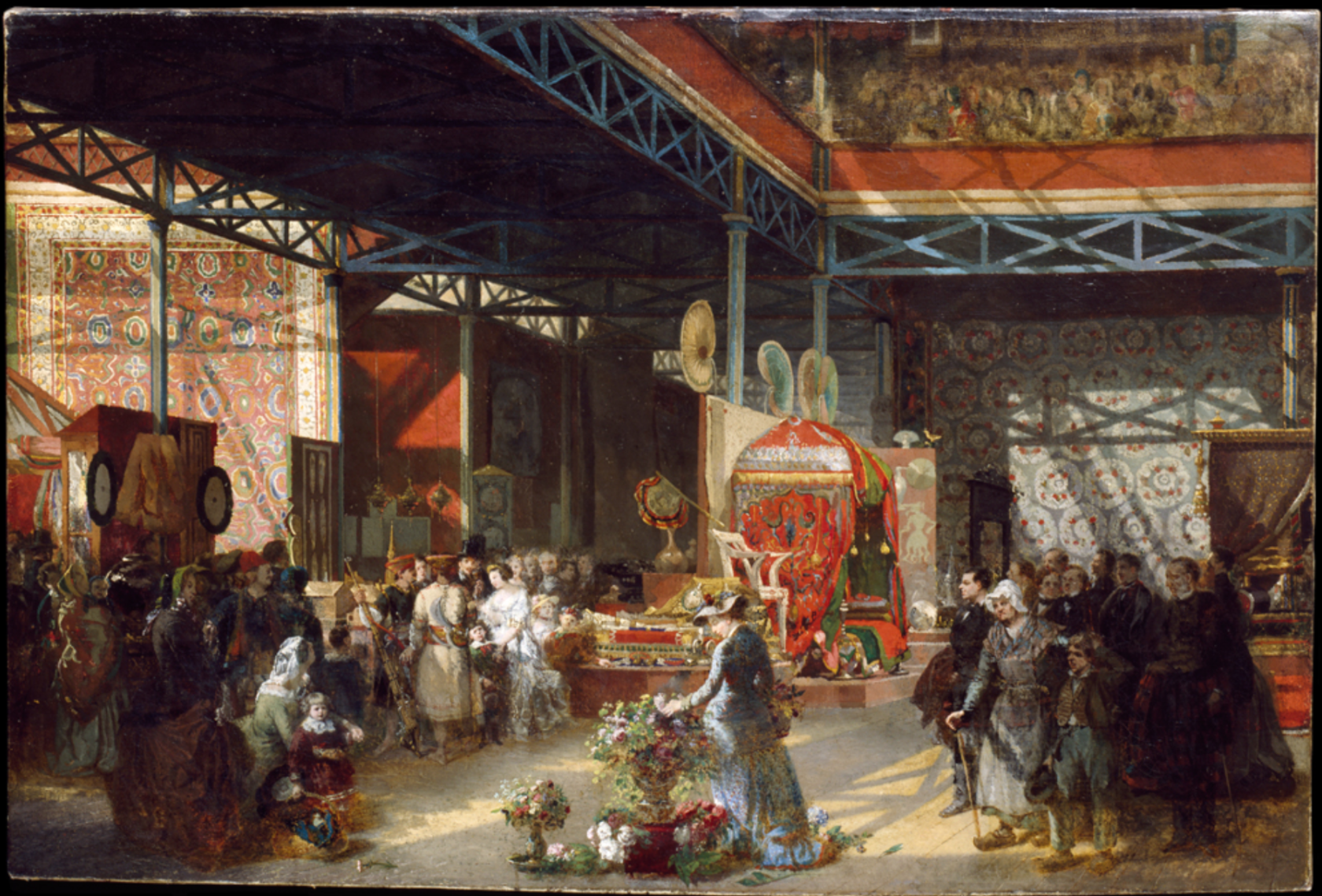 Queen Victoria, Prince Albert and three of their children at the Indian Pavilion of the Great Exhibition, oil painting, Prosper Lafaye, 1851-1881. Museum no. P.9-1966