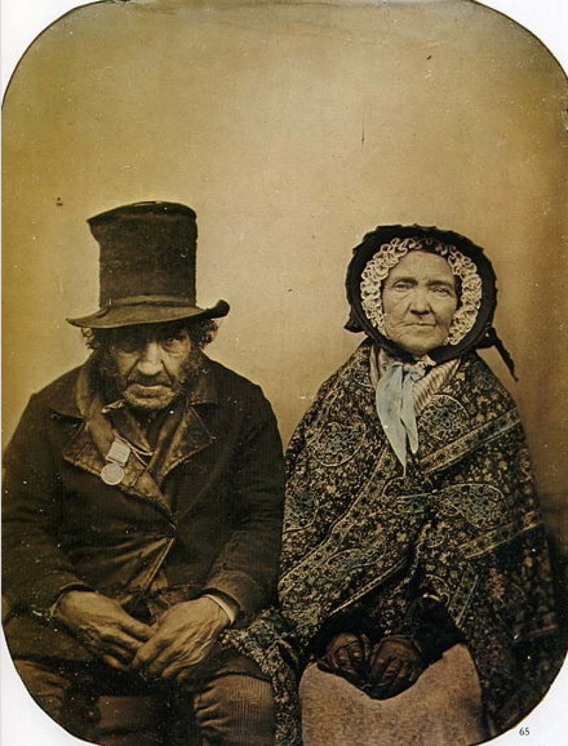 A British veteran of Waterloo and his Wife. Taken around 1850.