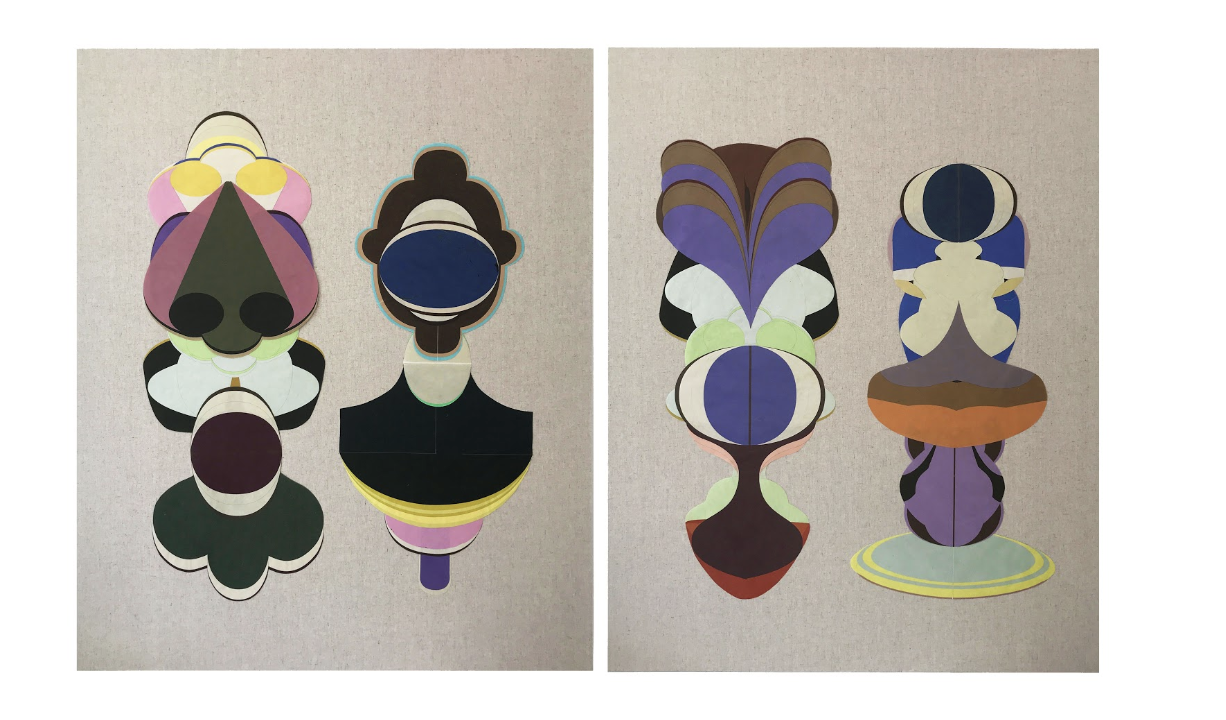 Pairs, collage on canvas, each panel 92x122cm, 2019