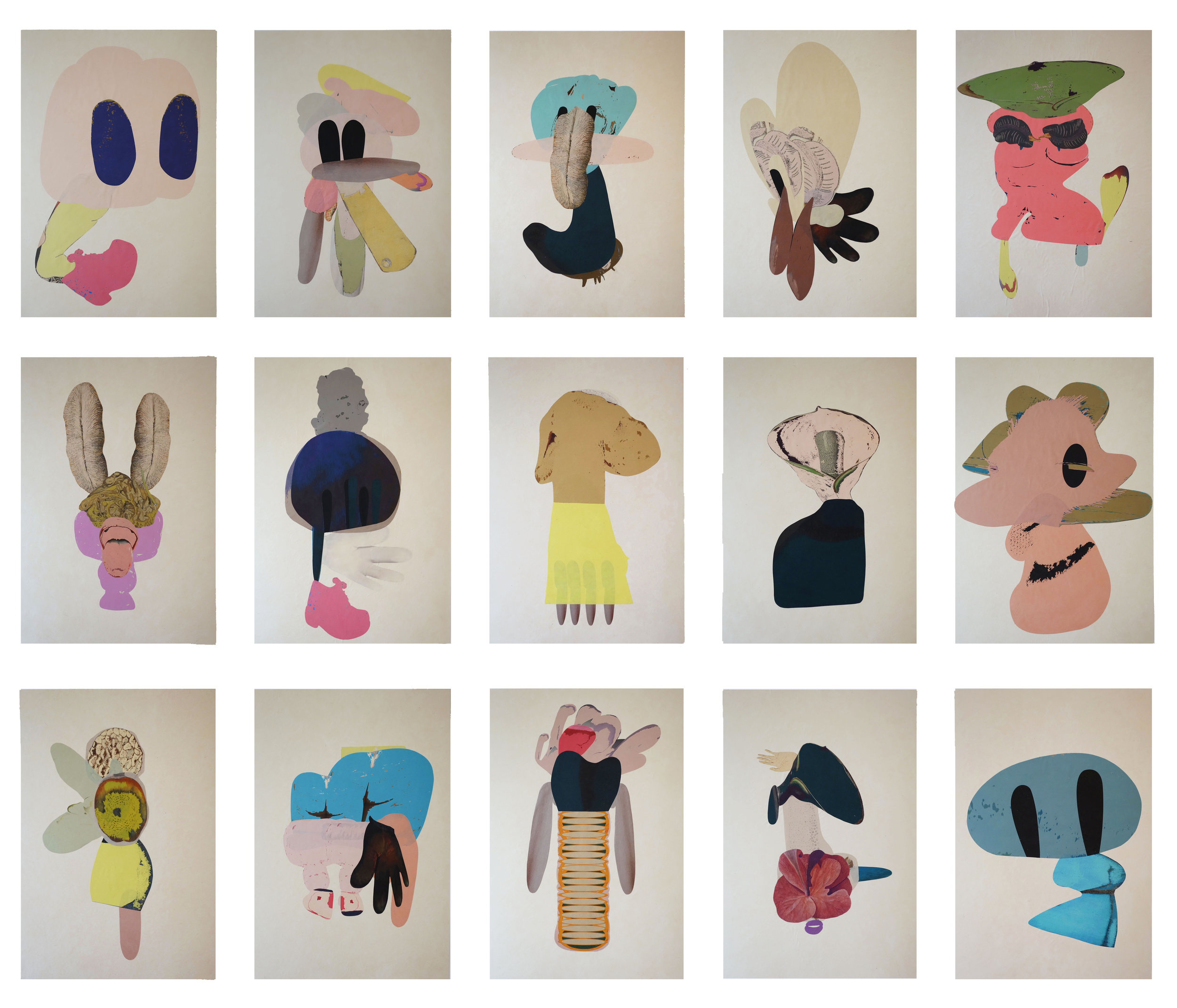 Lover Series 1-15, collage on paper, 2016, each panel 40x60cm