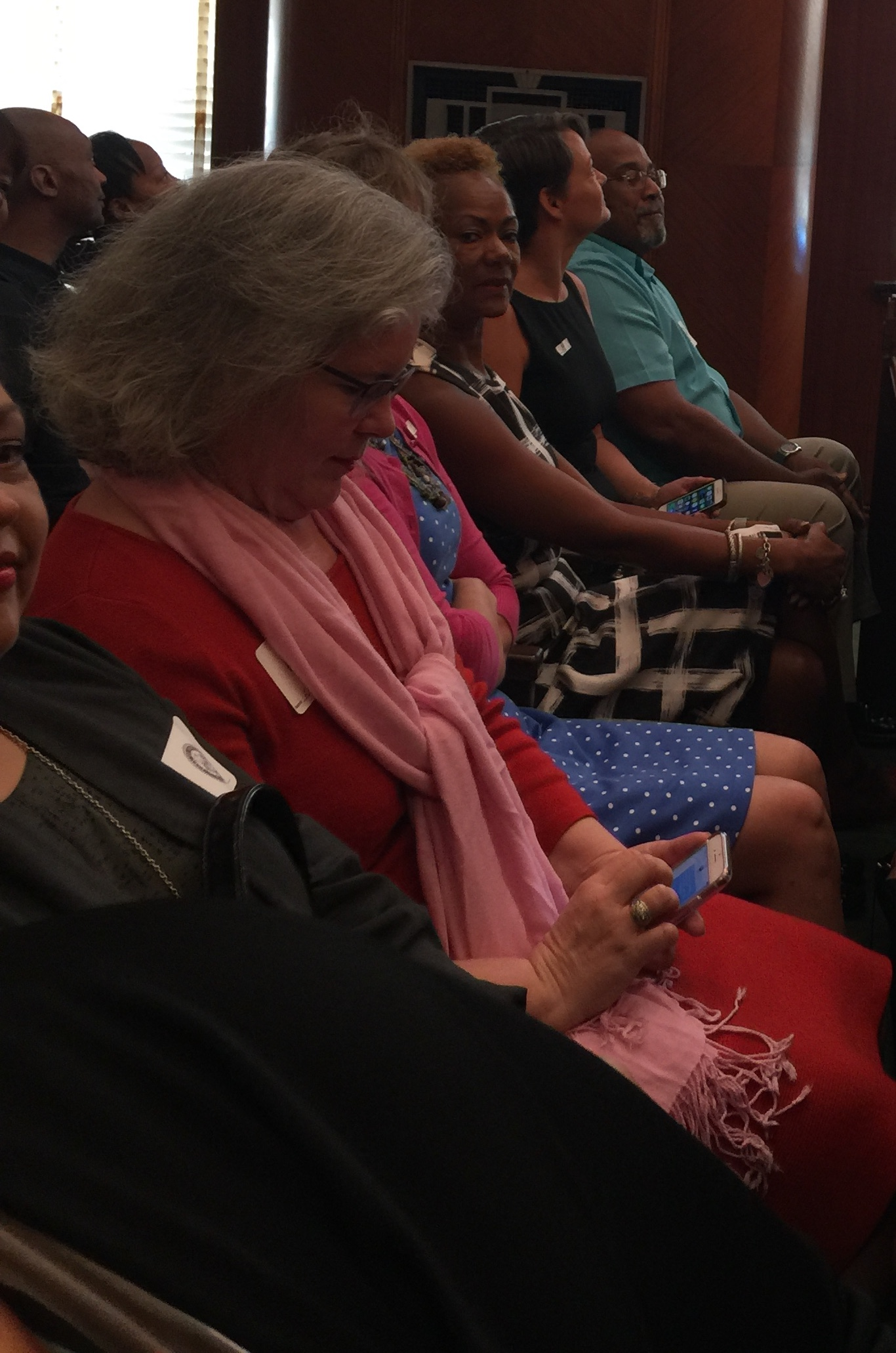 August 2017 - Leaders of Houston Women March wait to speak at City Hall.