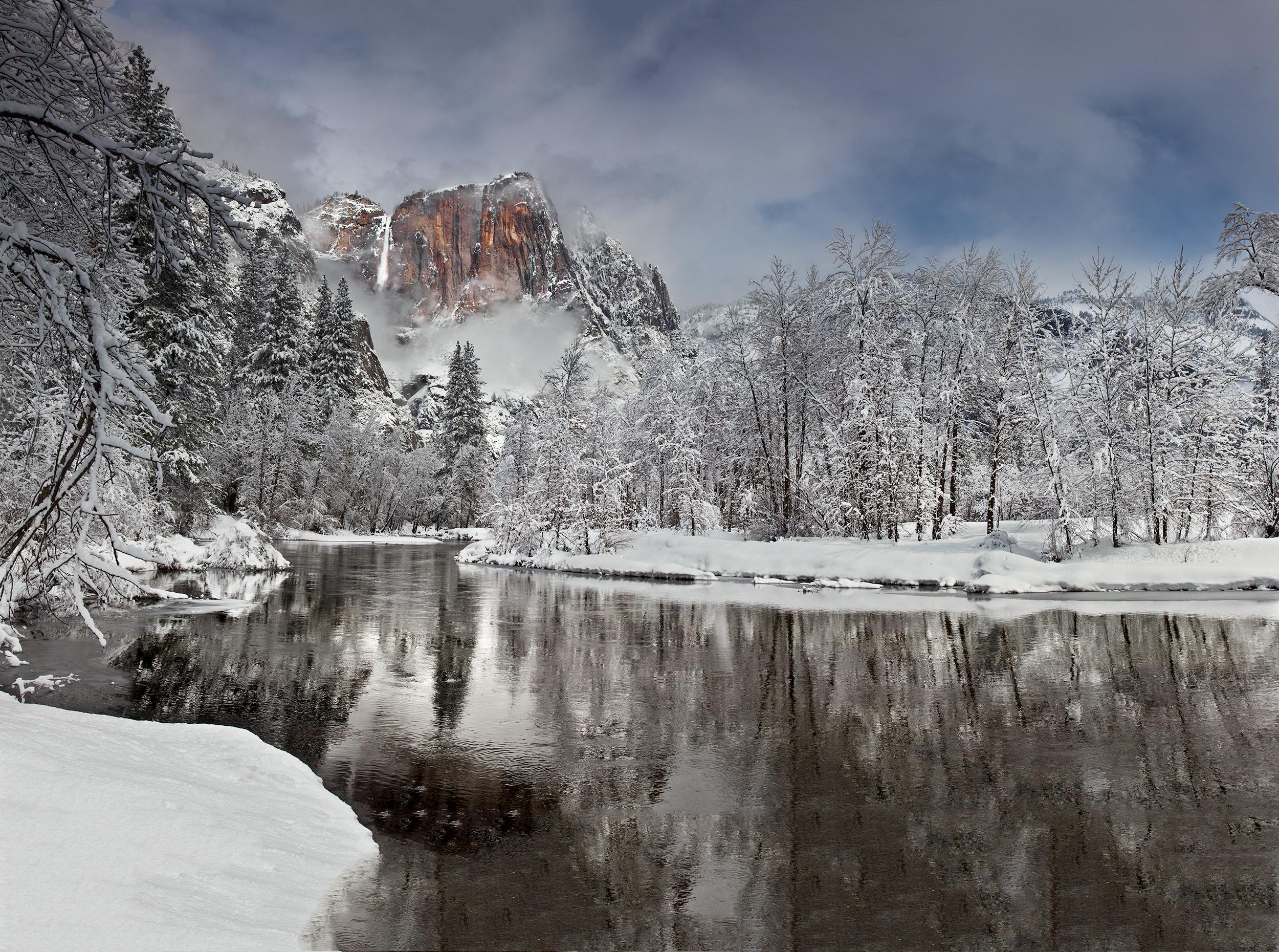 Yosemite Falls and Winter Reflection (7288-92)