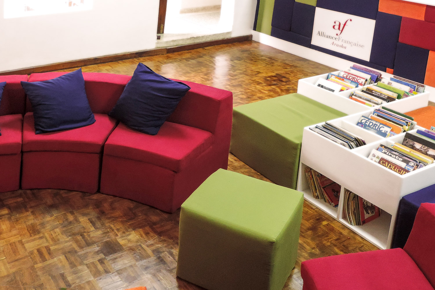 library seating, cushions and pouffes