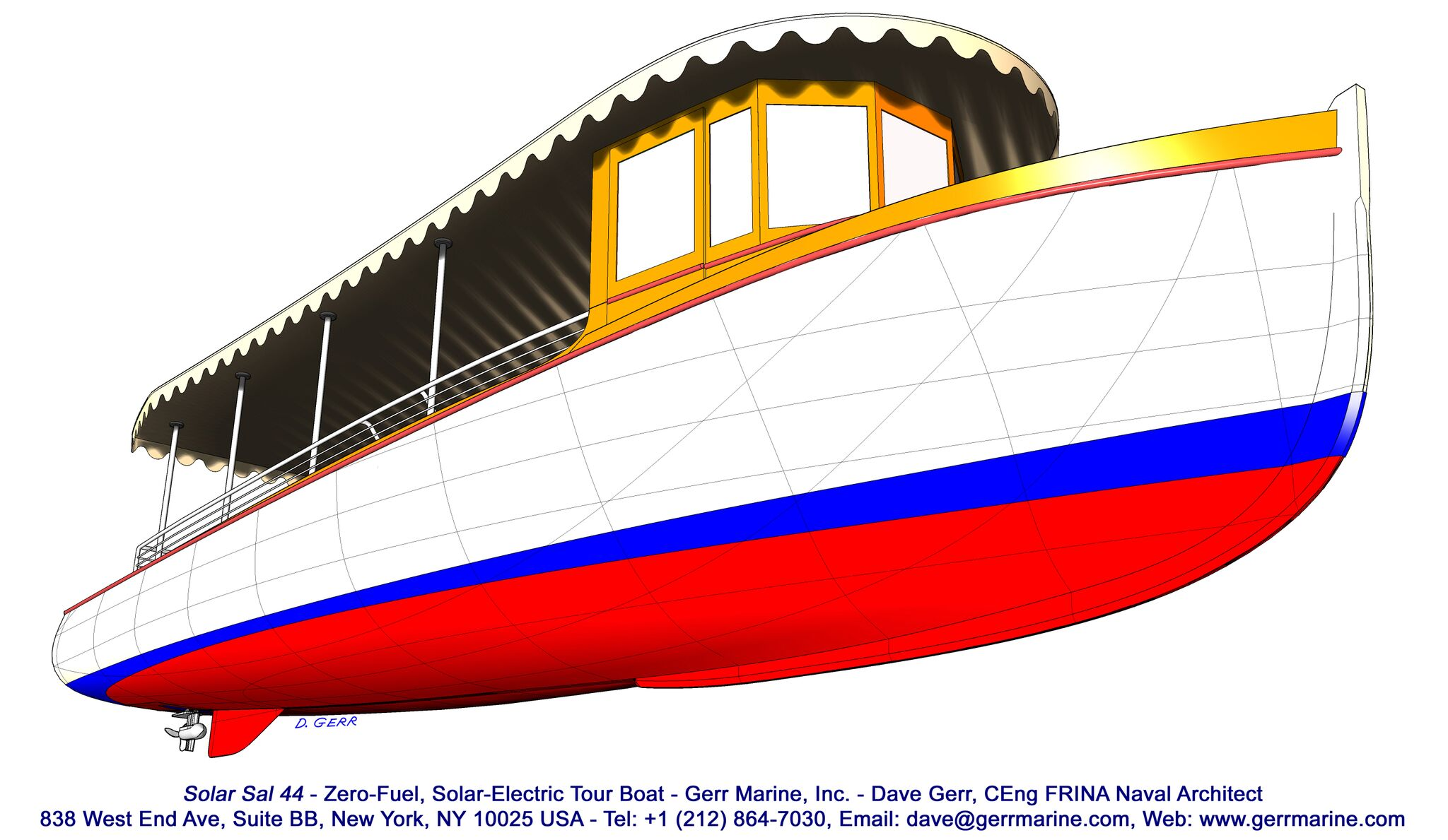 The hull shape of Dave Gerr's tour boat. Gerr already has a version on his drawing board that is a two stateroom cruising motorboat.