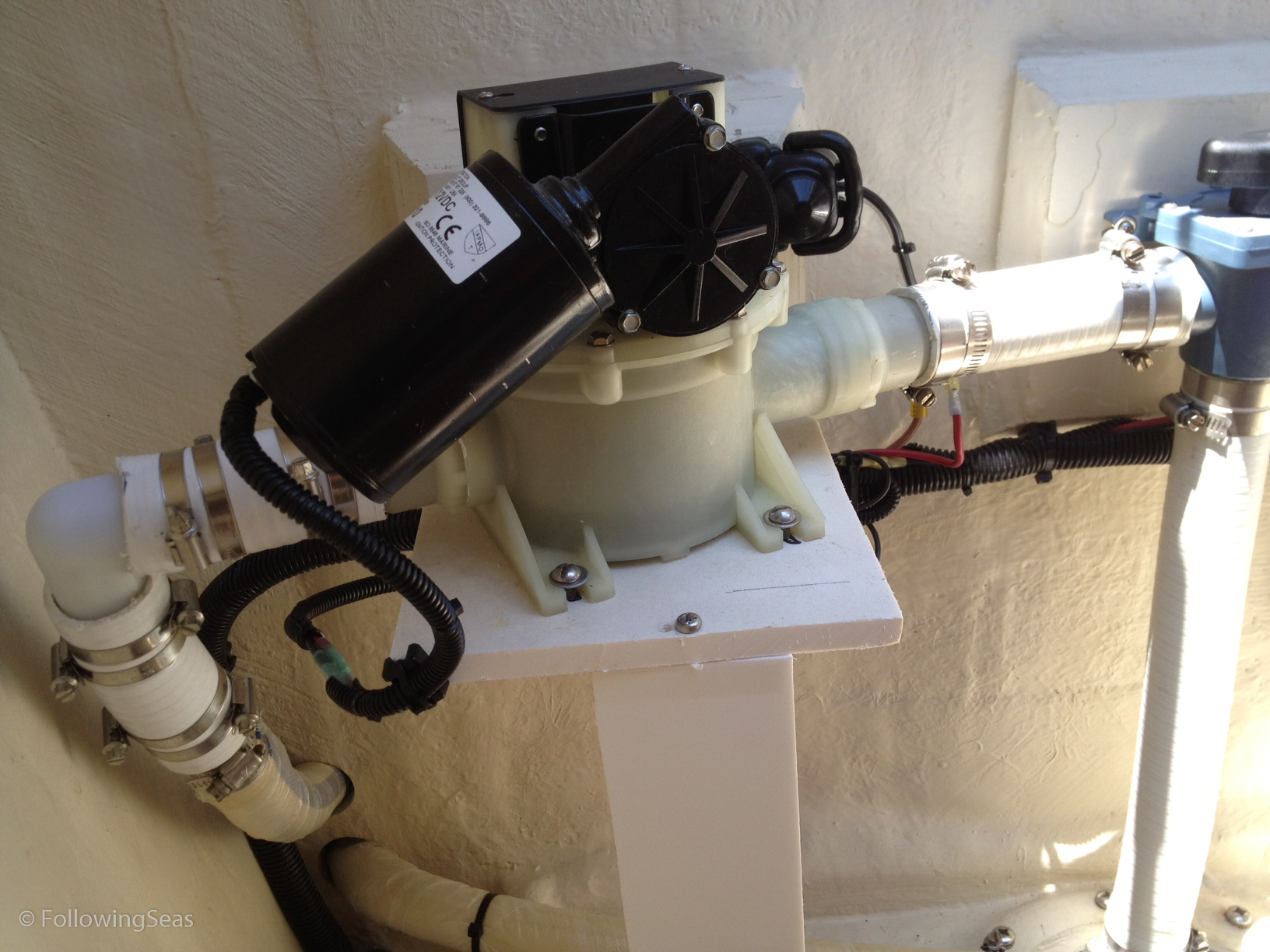 This diaphragm pump handles all waste, can run dry, and is easily owner serviced if necessary. There is nothing worse than a full holding tank and no way to empty it except at a marina that has a pump out facility, which may be difficult to find in areas far from home.
