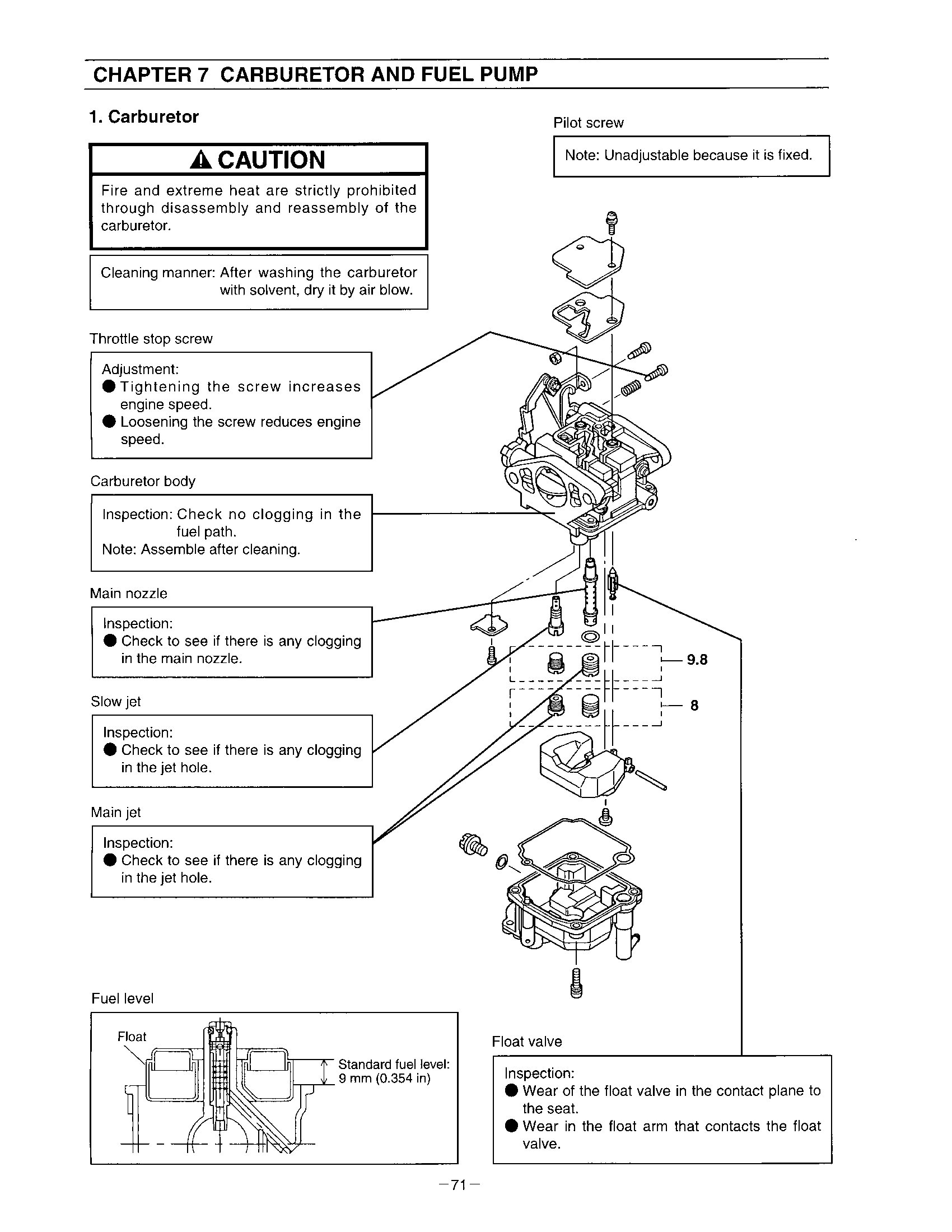 A page from an owner's manual on how to adjust a carburetor. While specific to one model, it is generally the same for all four stroke outboards.