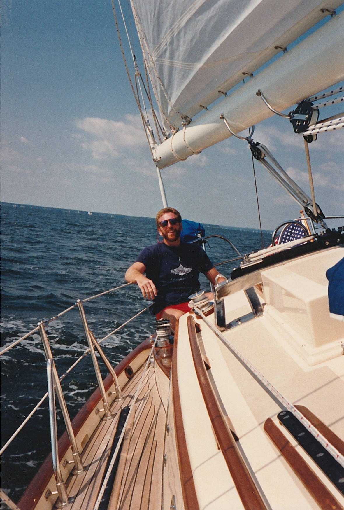 A long time ago, sailing  Bivacco , my Baba 30. It was a comfortable home, a joy to single hand, and maintaining brightwork was a labor of love.