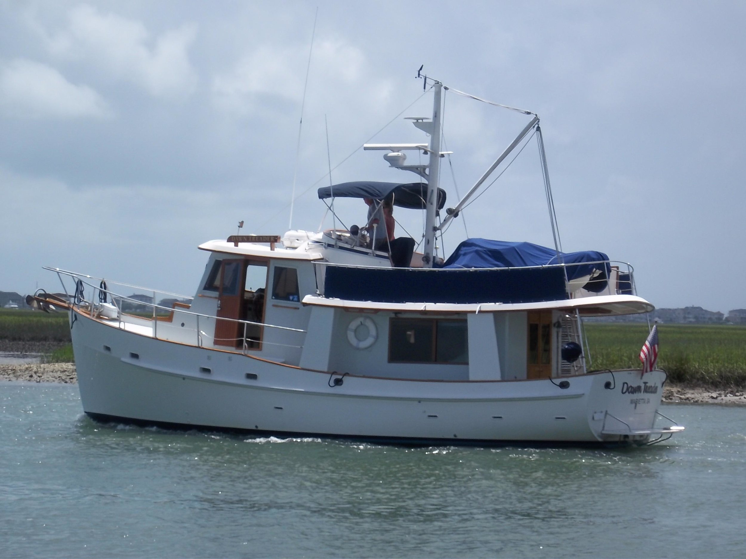 The venerable Krogen 42 is still a great all around cruising trawler for a couple who want to quietly travel over the horizon in comfort and relaxed style.