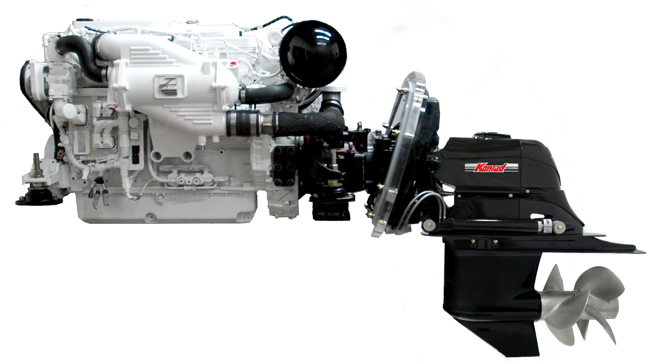 A Konrad sterndrive attached to a Cummins diesel engine. Rugged and built for heavy duty use, it is a superb choice for the new Adventure Series ocean motorboat.