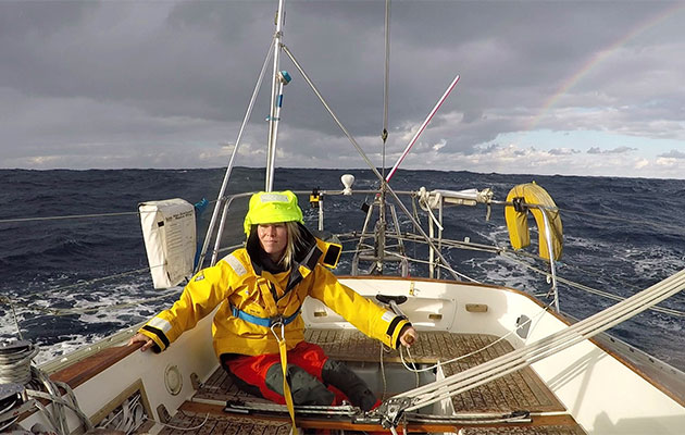 Susie Goodall is one of the competitors of the Golden Globe race, sailing a highly-modified Rustler 36.