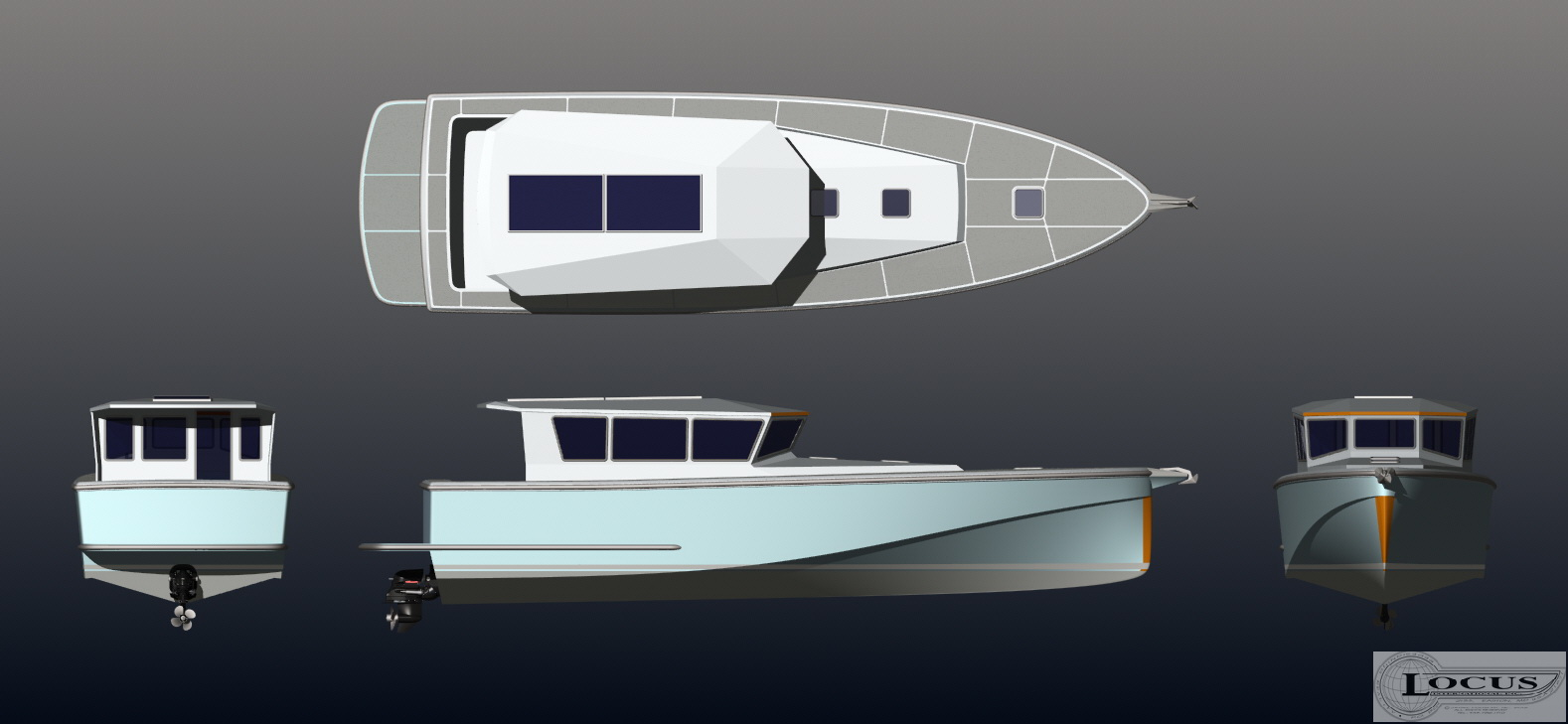 The drawings put words into perspective. These were the four initial dimensional drawings. We have made changes since and there will be more fine-tuning, but the basic concept is what you see here. Note the very fine entry and high chine for absolute efficiency at sea and displacement speeds while coastal cruising.