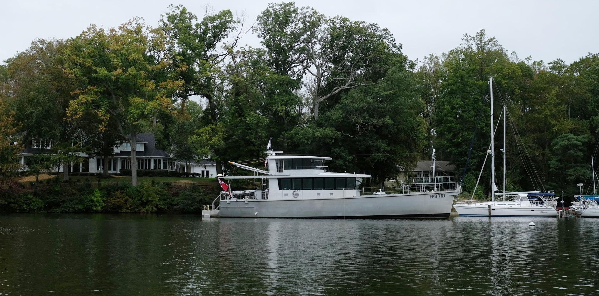 The distinctive profile is intentionally similar to a military or commercial vessel, downplaying the yachting characteristics of a world cruiser.