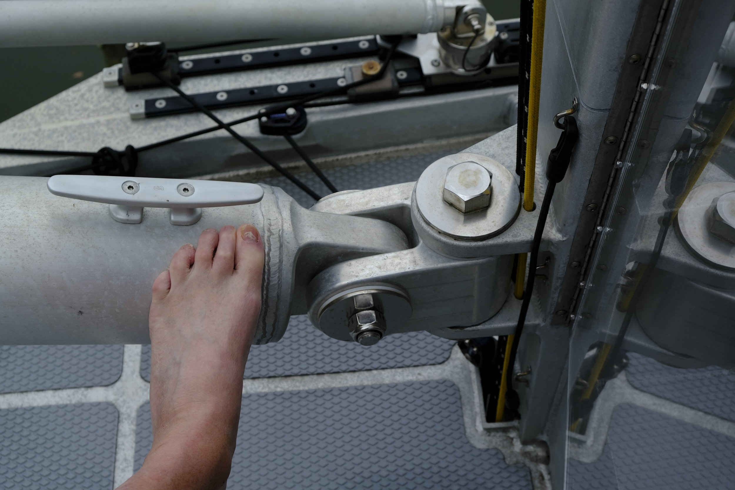 My size 13 foot gives you an idea of the massive construction of equipment on this boat. Everything is over sized to handle any sea condition.